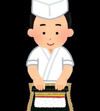 巻寿司を作る板前のイラスト