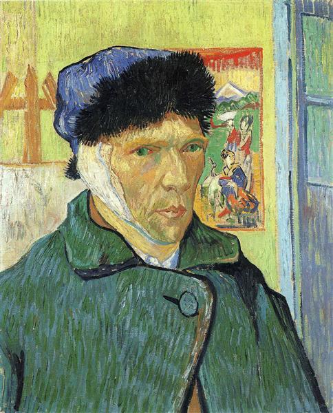 ゴッホ『浮世絵のある包帯を耳にした自画像』
