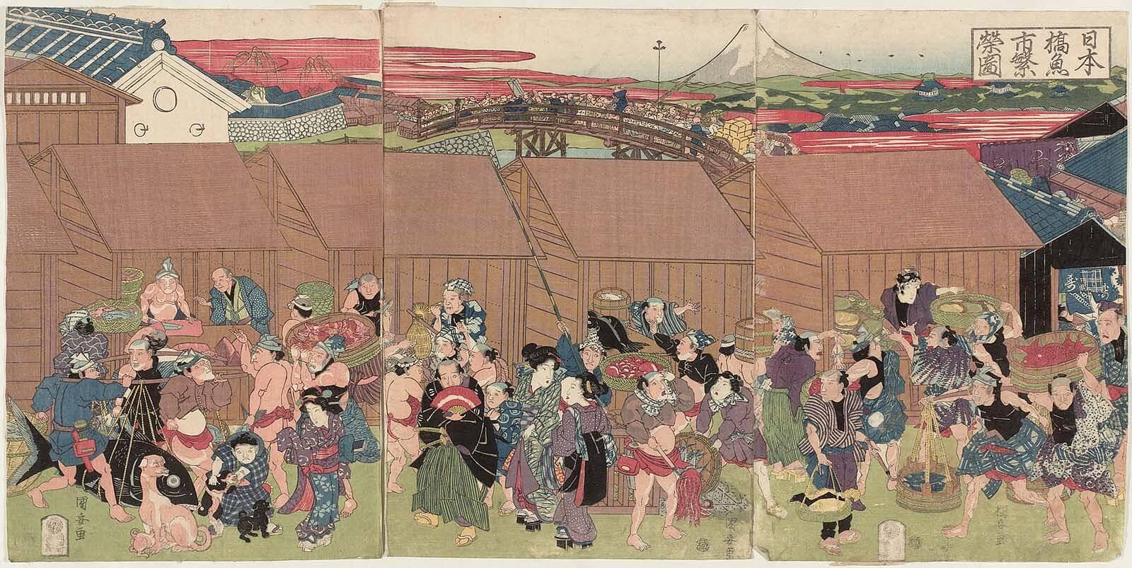 歌川国安『日本橋魚市繁栄図』